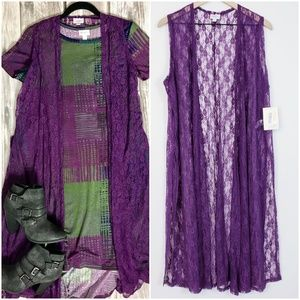 LulaRoe NWT purple lace joy duster sz Large